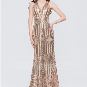 Never-Worn Gold Sequins Gown